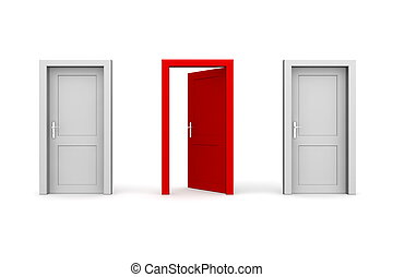 Three Doors - Grey and Red - Two Closed, One Open - line of...