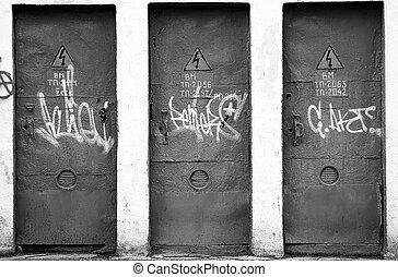 three doors in transformer unit - three doors
