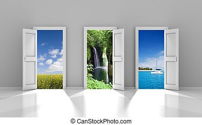 Three doors leading to different travel destinations -...