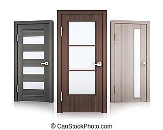 Three doors row