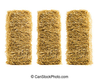three dry haystack isolated on white background