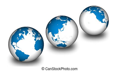 Three Earth Planets in a line turning - Animation of three...