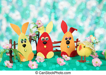 Three Easter bunny and chicken. - Three Easter bunny and...
