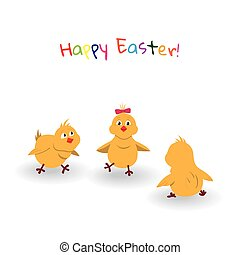 Three easter cartoon chicken on white background.