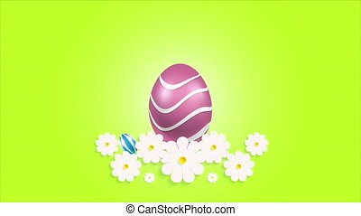 Three Easter eggs and daisies, art video illustration.