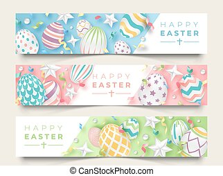 Three Easter horizontal banners with realistic decorated eggs, ribbons, stars and balls. Illustration in soft colors. Easter card illustration on light background