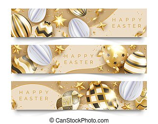 Three Easter horizontal banners with realistic golden decorated eggs, ribbons, stars and balls. Easter card illustration on light background
