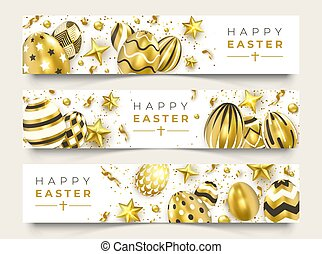 Three Easter horizontal banners with realistic golden decorated eggs, ribbons, stars and colorful balls. Easter card illustration on light background