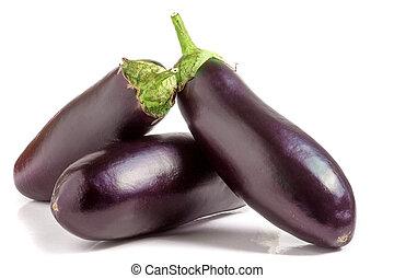 three eggplant isolated on white background macro