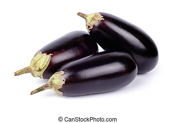 Three eggplant isolated on white background