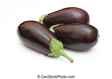 Three eggplant isolated on white