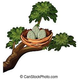 Three eggs in bird nest illustration