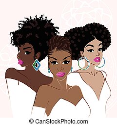 Three elegant dark-skinned women - Illustration of a group...