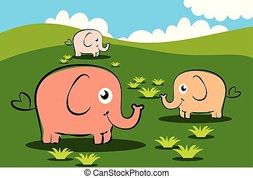 three elephants cartoon character on grass