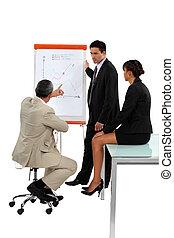 Three employees in business meeting
