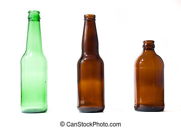 Green brown and stubby empty beer bottles on white isolated background.