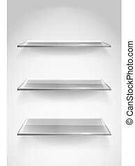 Three empty advertising glass shelves on the wall