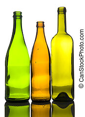 Three empty bottle macro