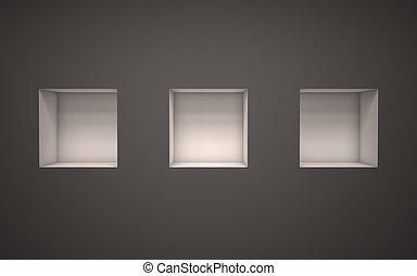 three empty exhibition shelves 3d illustration