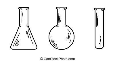 three empty flasks