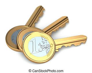 Three euro coin keys.