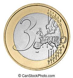 Three euro coin - Three euro coin on white