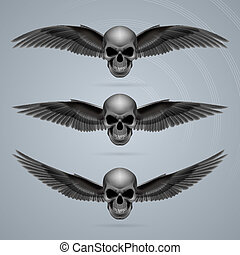 Three evil skulls with wings