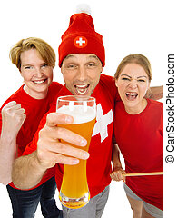 Three excited Swiss sports fans