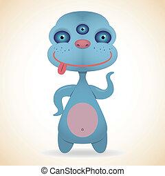 Cartoon funny three-eyed blue monster