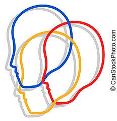 Three faces icon - Creative design of people faces icon