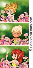 Three fairies in flower garden