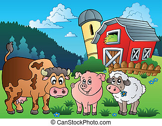 Three farm animals near barn - vector illustration.