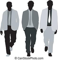 three fashionable men