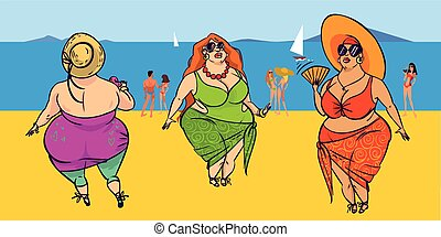 Three fatties on the beach - Funny vector cartoon colorfull...