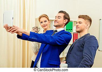 selfie in the office