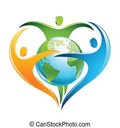 Three colorful figures surround Earth in a shape of a heart