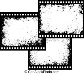 three grunge film frames with transparent space insert