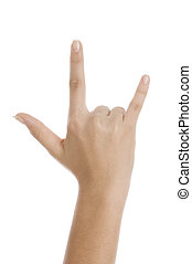 three fingers - hand showing rock on on an isolated white...