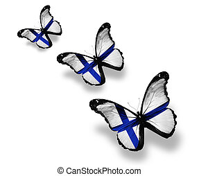 Three Finnish flag butterflies, isolated on white