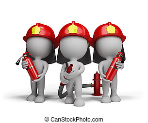 Three firefighter with the fire ext - Three firefighter with...