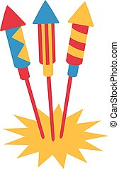 Three firework rockets