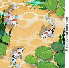 Three fish swimming in the pond