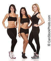three fitness women