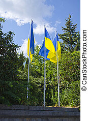 Three flags of Ukraine