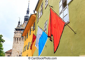three flags on the wall