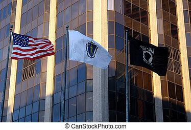 Three Flags United States Massachusetts POW MIA