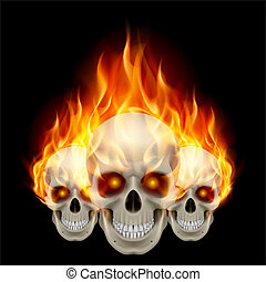 Three flaming skulls with fiery eyes. Illustration on black...