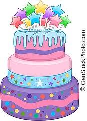 Three Floors Cake With Stars - Vector illustration of 3...