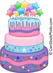 Three Floors Cake With Stars - Vector illustration of 3...