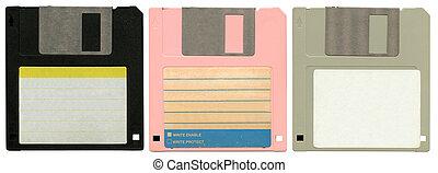 three floppy discs